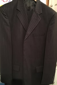 Svart pinstriped notch lapel suit jakke