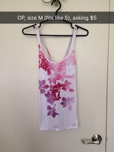 Size M white pink floral tank top