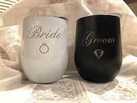 Bride & Groom Stainless Steel Wine Cups Pitt Meadows