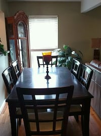 rectangular brown wooden table with six chairs dining set Frederick, 21703
