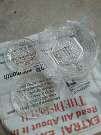 clear glass bowl and saucers 269 mi