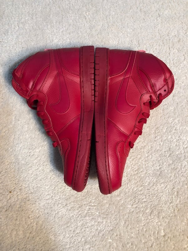 Men's Nike Big High Basketball Shoes Red Leather (Retail $100) 5d9800f8-e186-4083-b2a4-f68ab695f64a