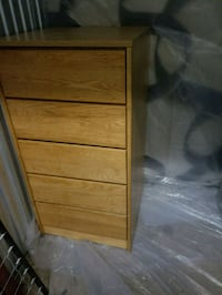 brown wooden 5-drawer chest