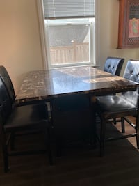 Bar height dining table with 4 chairs