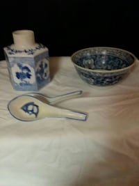 white and blue ceramic vase , bowl , and spoons. Nappanee, 46550