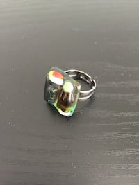 Artisan recycled glass adjustable ring!