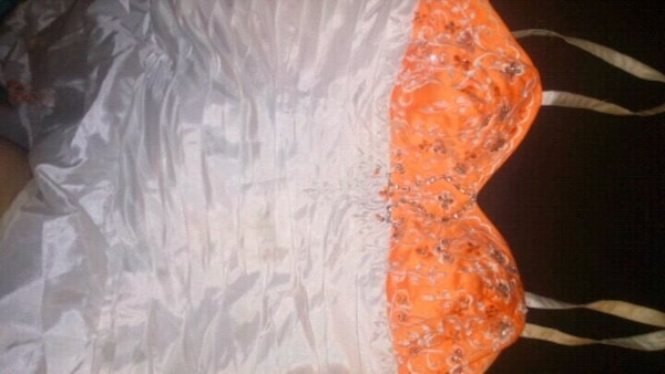 Used Beautiful Orange And White Wedding Dress For Sale In Lindsay
