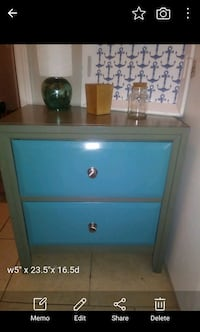blue and white wooden 2-drawer nightstand Oklahoma City, 73108