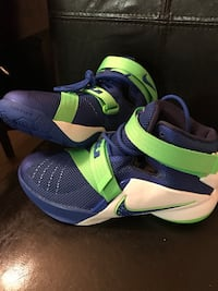 pair of blue-and-green Nike basketball shoes Houston, 77073