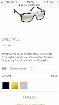 black framed Evidence sunglasses screenshot