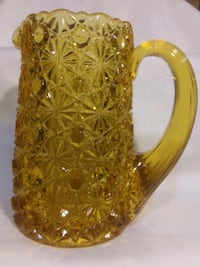 Vintage / amber glass / Miniature/ pitcher / vase