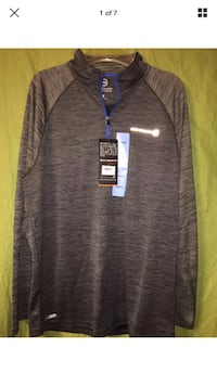 FREE COUNTRY Men's GRAY 1/4 Zip Long Sleeve MicroTech Pullover Shirt SIZE LARGE Defiance, 63341