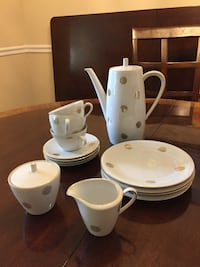 white polka-dot ceramic tea set Falls Church