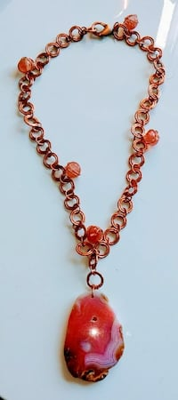 Pink Agate pendant necklace on copper chain Melbourne, 32935