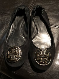Tory Burch black suede ballerina flats size 8/8.5 US