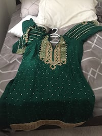 Green and Golden Indian traditional dress