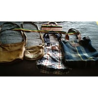 five canvas and leather handbags Gloversville, 12078