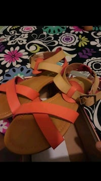 pair of red leather open-toe wedge sandals Bakersfield, 93304