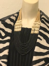 beaded white and black necklace