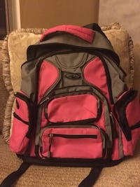 gray and pink backpack
