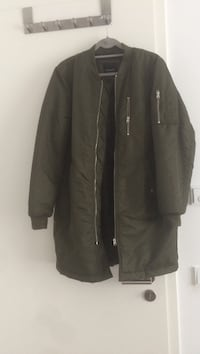 Long olive bomber jacket