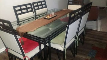 Black metal & glass dining room and curio