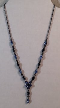 "16"" Silver Tone Blue Crystal Stone Floral Necklace Earrings Set"