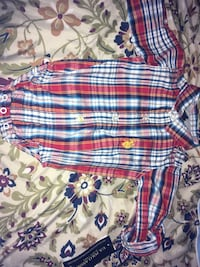 baby's white, red and blue plaid onesie Columbus