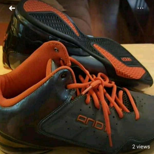pair of black-and-orange And1 basketball shoes