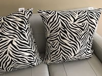 Three black-and-white zebra print throw pillows Fairfax, 22030