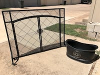 Hearth and Stone fireplace screen and fire log bucket Houston, 77079