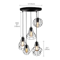 Industrial Set of Cage Lighting Fixture with 5 Cage Lights Toronto
