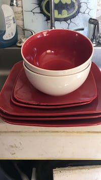 red-and-white ceramic bowls and plates set Joplin, 64801