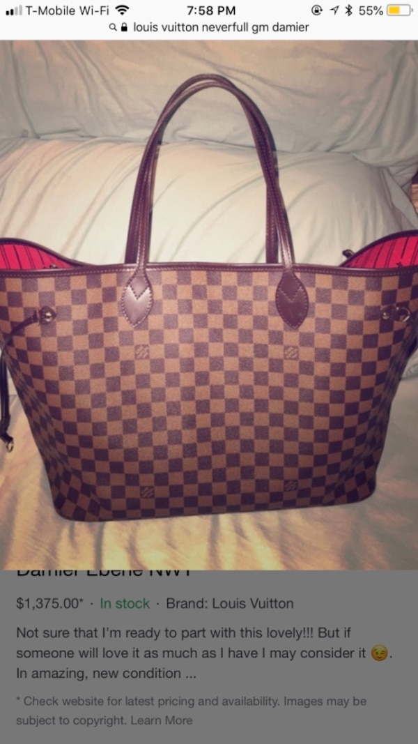 8b8786f49a6c Used Damier ebene louis vuitton tote bag for sale in Macomb - letgo