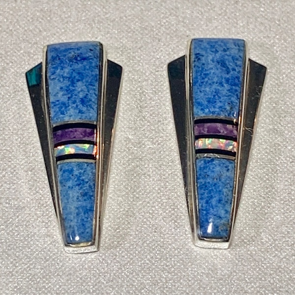 Genuine Navajo Mosaic Sterling Silver Lapis Opal Sugilite Earnings 3