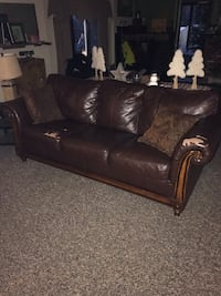 Brown leather 2-seat sofa North Attleborough