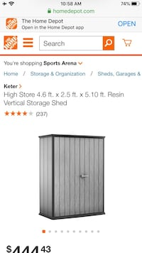 Keter High Store 4.6 ft. x 2.5 ft. x 5.10 ft. Resin Verti Storage Shed