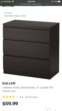 Brown-Black wooden 3-drawer chest dresser Ottawa, K1S 0B2