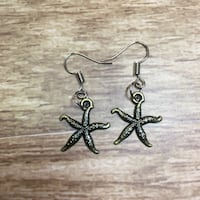 Pair of silver starfish  hook earrings