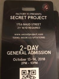 Secret project tickets 2 day general admission Diamond Bar, 91765