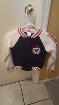 black, white, and red zipped-up letterman jacket Albuquerque, 87121