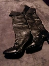 Clicks Black leather over the knee boots