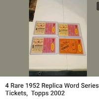 4 Rare 1952 world series replica ticket stubs Jessup, 20794