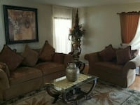 brown suede sofa set with rectangular glass center table Orlando, 32819