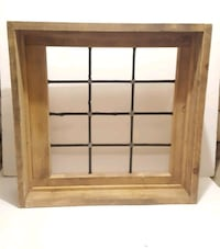 Leaded Glass Window in Wood Frame 537 km