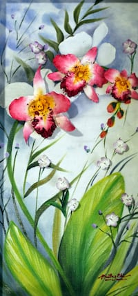 Orchids - Clay flowers, Oil painting, Original 3D, Westminster