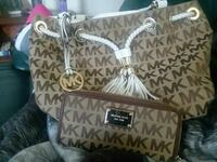monogrammed brown and black Michael Kors laether h