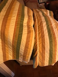 brown, white, and green plaid textile