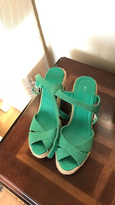 green leather open toe sling back wedge