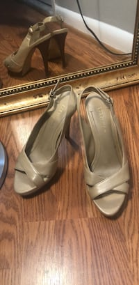 pair of beige leather peep-toe heeled sandals Silver Spring, 20906